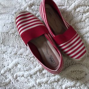 Red and white stripe summer espadrille/loafer
